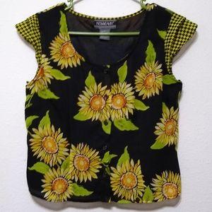 Nouveaux vintage 90s sunflower print cropped
